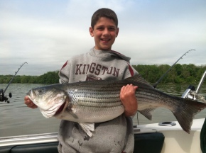 Peter's Grandson Ely with a 15 lb Striped Bass